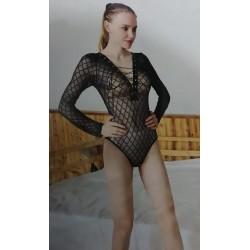 Body malla manga larga transparente